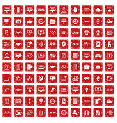 100 interface icons set grunge red vector