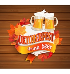 Octoberfest vintage frame with beer vector image