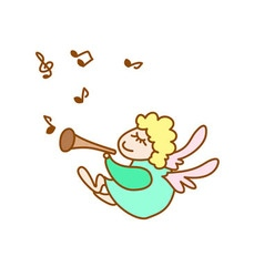 Little flying angel with flute and note vector