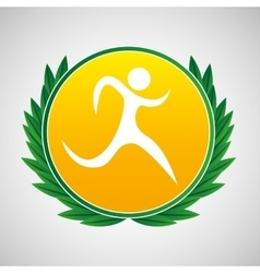 Running symbol label laurel wreaths vector