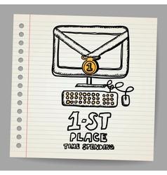 Doodle golden medal on computer concept vector image