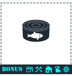 Can with label tuna fish icon flat vector