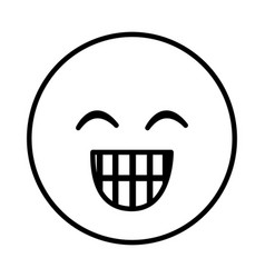 silhouette emoticon face happines expression vector image