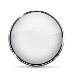 White glass button with chrome frame vector