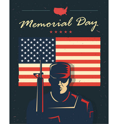 Memorial day card soldier against american flag vector