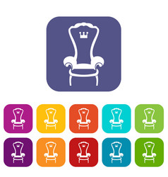 king throne chair icons set vector image