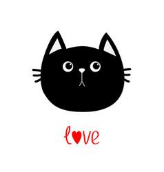 Black cat head icon cute funny cartoon character vector