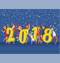 Happy new year 2018 party people celebrating vector