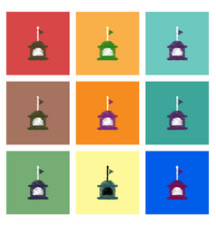 collection of icons and lifeboat and flag vector image
