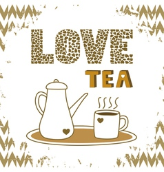 Love tea card4 vector
