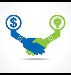 Handshake between men having idea and money vector