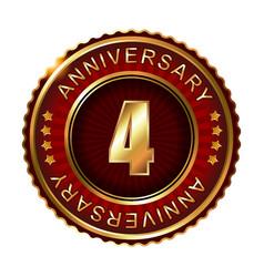4 years anniversary golden label vector image vector image