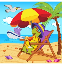 Turtle drinking cocktail in lounge chair on beach vector