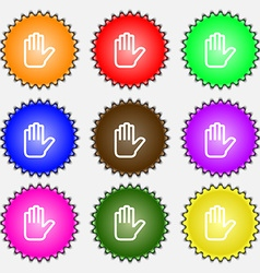 Hand print stop icon sign a set of nine different vector