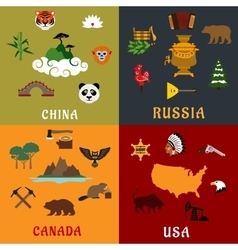 Usa china russia and canada flat travel icons vector