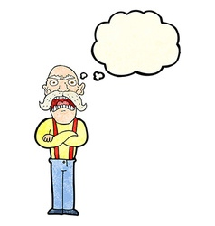 Cartoon shocked old man with thought bubble vector