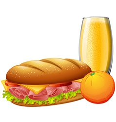 Sandwiches and orange juice vector