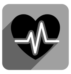 Heart Diagram Flat Square Icon with Long Shadow vector image