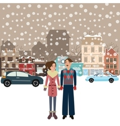 Couple man woman male female standing in snow vector