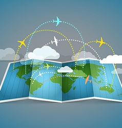 Airplanes flying over the abstract map vector image