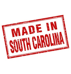 South carolina red square grunge made in stamp vector