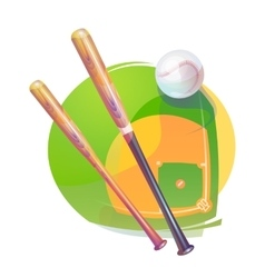 Baseball ball and crossed bats over diamond field vector image
