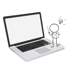A laptop with a man reading vector image vector image