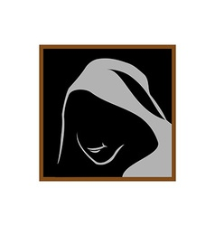 Anonymous logo template monk shadowed face under vector