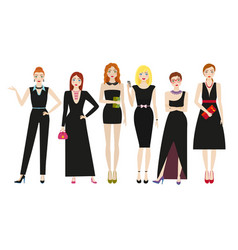 attractive women in elegant black dresses vector image