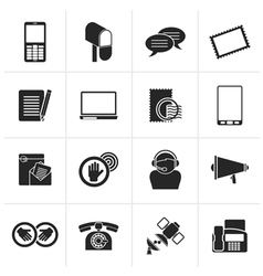 Black contact and communication icons vector
