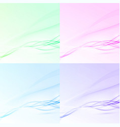 Bright abstract swoosh wave layout collection vector