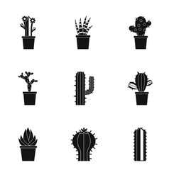 Cactus plant icon set simple style vector