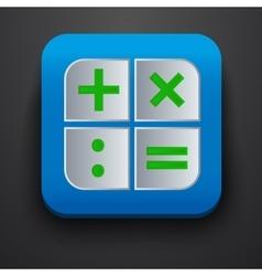 Calculator symbol icon on blue vector image