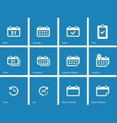 Calendar icons on blue background vector
