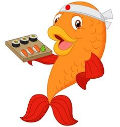 Cartoon chef fish holding sushi vector