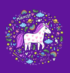 cute handdrawn unicorn unicorn and magic stuff vector image vector image