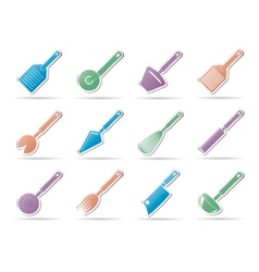 different kind of kitchen accessories icons vector image