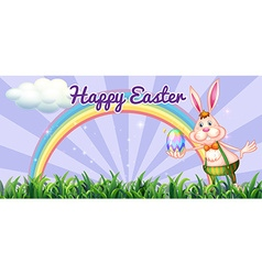 Easter festival with easter bunny holding egg vector