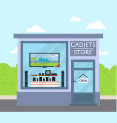 Facade gadgets store building in flat design vector