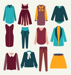 Fashion flat female clothing vector