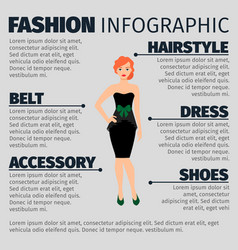 Fashion infographic with redhead woman vector