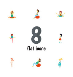 Flat icon pregnant set of fitness lady pregnancy vector