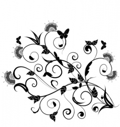 floral design with butterflies vector image vector image