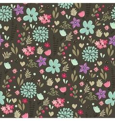 Floral seamless pattern dark green vector