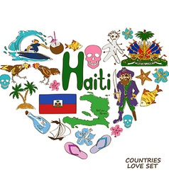 Haitian symbols in heart shape concept vector image vector image