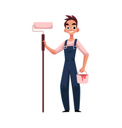 Happy smiling painter standing and holding paint vector