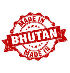 Made in bhutan round seal vector