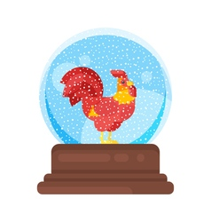 New year and xmas glass ball with red rooster vector