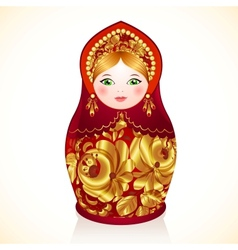 Red and gold colors russian doll matryoshka vector
