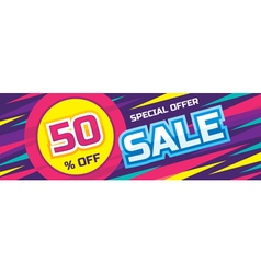 Sale origami horizontal banner vector image